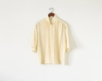 90s silk blouse / light yellow shirts / oversize blouse