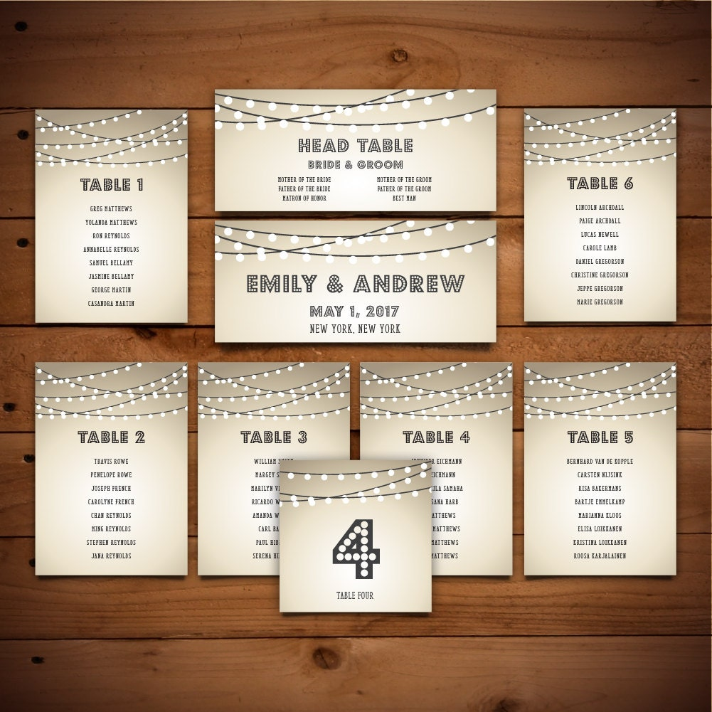 Seating Chart Template - Table Number - DIY Wedding Seating Chart ...