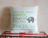 Personalized Baby Pillow,Birth Announcement Pillow Cover,Nursery Pillow,Cute Elephant Pillowcase,Mothers Day Gift,Baby Shower Gift 26682
