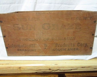 Wooden Antique Crate Sun Graze Product of Paraguay