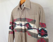 Pearl Snap  Southwestern Print Vintage Wrangler Mens or Womens Shirt Small