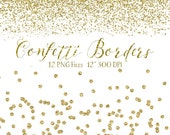 Gold Confetti Borders - Glitter Confetti Clipart - Digital Confetti - 12 Gold Glitter Border Clip Art Overlays High Res - Instant Download