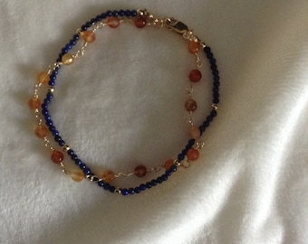 Carnelian and lapis double strand bracelet