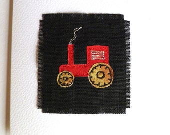 Tractor birthday card. With embroidered red tractor on black linen. Unique card for a farmer. For him or her, adult or child. Blank inside.