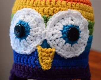 Crochet Owl hat, Rainbow Owl hat, Owl hat, Crochet hat owl, Colorful owl hat