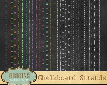 Chalkboard Decorative Strands - String Lights Clipart Clip Art for Weddings, Save the Date, Valentine, Christmas, Chalkboard Borders