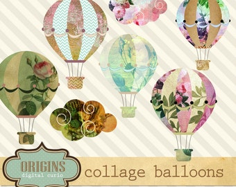 Collage Hot Air Balloons Clipart Set - Hot air balloon clipart, vintage collage clip art, png instant download commercial use