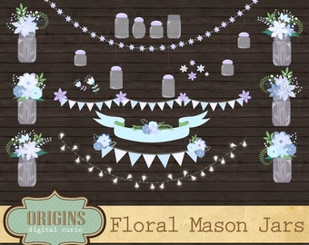 70% OFF White Mason Jars Clipart - Floral Shabby Chic Clip Art for Weddings, Save the Date, Invitations, Scrapbooking, Vectors and PNG