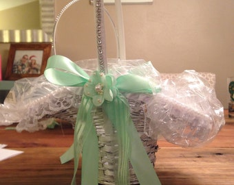 Custom Wedding Flower Girl Basket w. ribbons and rhinestones