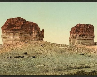 Utah. The giant club and kettle, Green River 1898. Vintage photo panorama reprint 8x16-up. Rock formations Utah Green River
