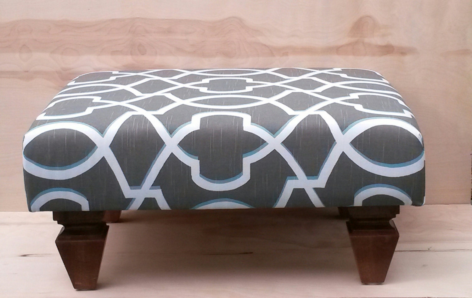 Upholstered Ottoman Coffee Table Brown And Blue