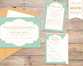 Customized/Printable Carved Elegance Wedding Invitation Suite