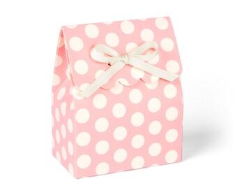 Pink Favor Boxes with Ivory Ribbon, Big Polka Dot // set of 8