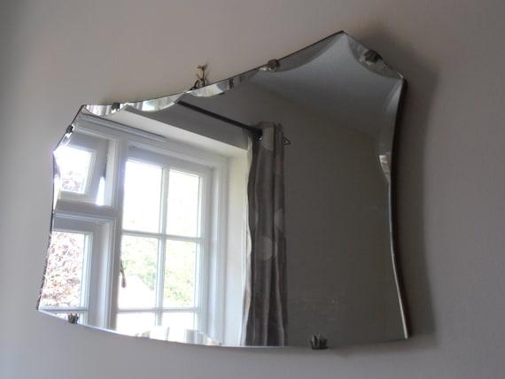 Large Vintage Art Deco Frameless Wall Hanging English Mirror