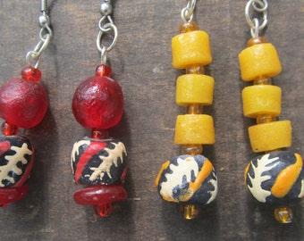 Dangle earrings, African recycled glass, handmade beads, Fair Trade jewelry, handmade jewelry
