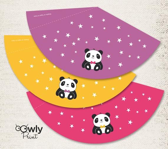 Printable Birthday Hats Diy Party Hats Birthday Panda Hats