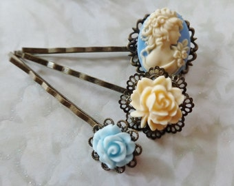 Baby Bleu And Vanilla Cameo And Rose Hair Clips