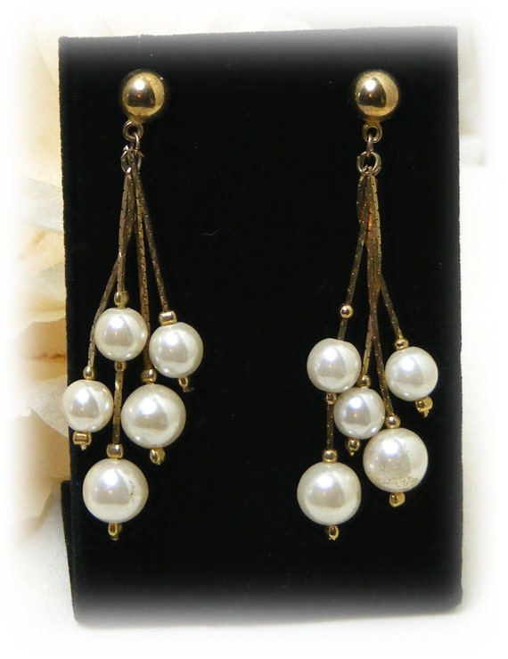 "Vintage Dangle ""FAUX PEARL EARRINGS"" . .  (pierced) After 5 Style"