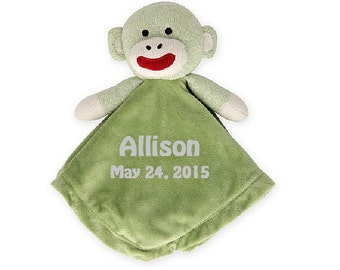 Sock Monkey Lovey Snuggle Buddy Comfort Security Bear Security Blanket Crib toy in Green - Personalized