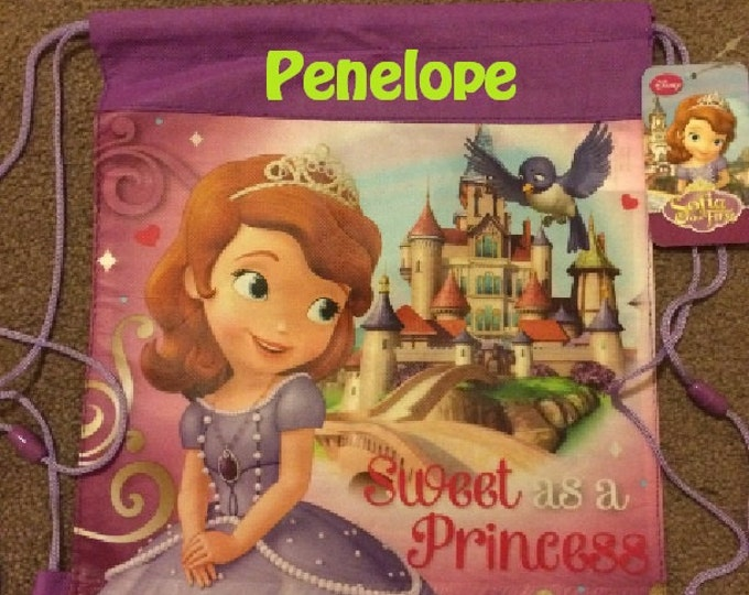 Princess SOFIA the First Drawstring Backpack Sling Bag – Personalized