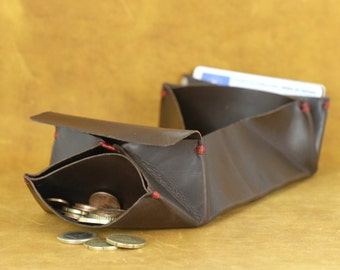 Leather origami wallet. Leather wallet. For cards, bills and coins. Spanish oiled leather. Unisex wallet. For all. A big little wallet.