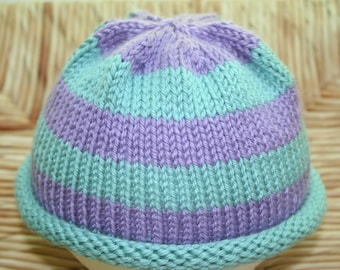 Hand Knit Baby Hat with Blue and Purple Stripes / Toddler Hat / Baby Beanie