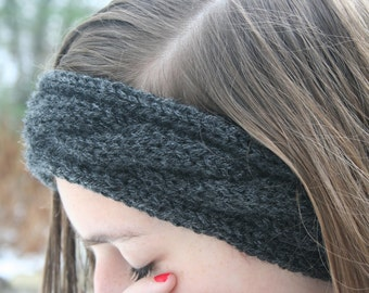Black Cable-Knit Headband/Ear Warmer/Ear Muff