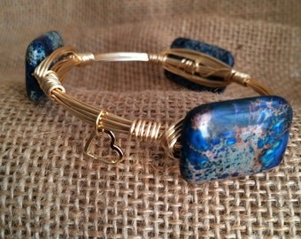 Wire Wrapped Bracelet - Blue Marbled - Inspired by Bourbon and Boweties
