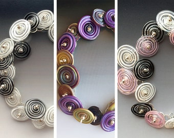 Peppermint Bracelet: multiple colors shown - handmade glass lampwork beads with sterling silver components