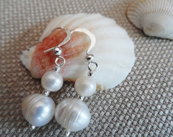 White freshwater pearl dangle earrings, 925 silver accents
