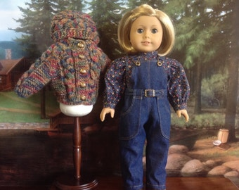 American Girl Denim Overall and Sweater Set