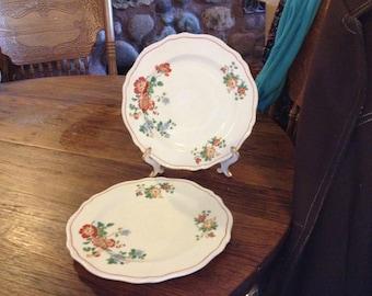 Two Vintage Steubenville Ivory Floral Plates