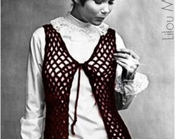 Crochet TOP Pattern Vintage 70s Crochet Vest Pattern