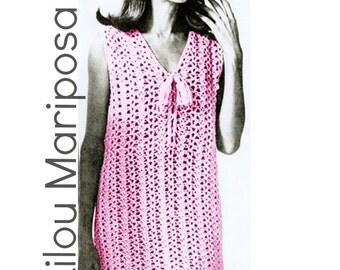 Vintage 70s Crochet DRESS PATTERN Instant Download
