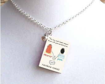 Eleanor and Park with Tiny Heart Charm - Miniature Book Necklace