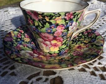Rosina Black Chintz Teacup
