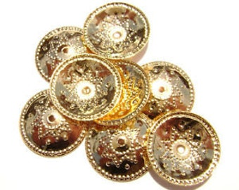 Bead Cap 12mm Gold Shield - Pack 10