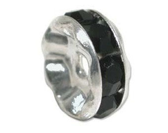 Rhinestone Rondelle - 6mm Straight Spacers - Pack 10 - Jet