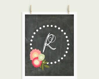 Letter R Chalkboard Polka Dot Floral Frame Curly Font Initial Monogram Instant Art