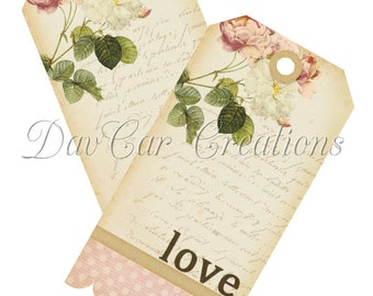 Vintage Style French Love Flowers Gift Tags Printable