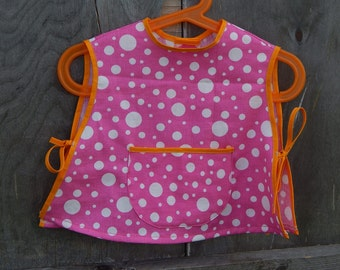 Soviet Vintage Baby Apron Dress Pink Dot , Vintage Russian Baby Accessory Made in USSR era 1980 s. 0,5-1 Years