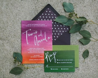 SAMPLE PACK - Modern Watercolor Sunset Wedding Invitation in Pink, Purple & Orange - Amanda Collection