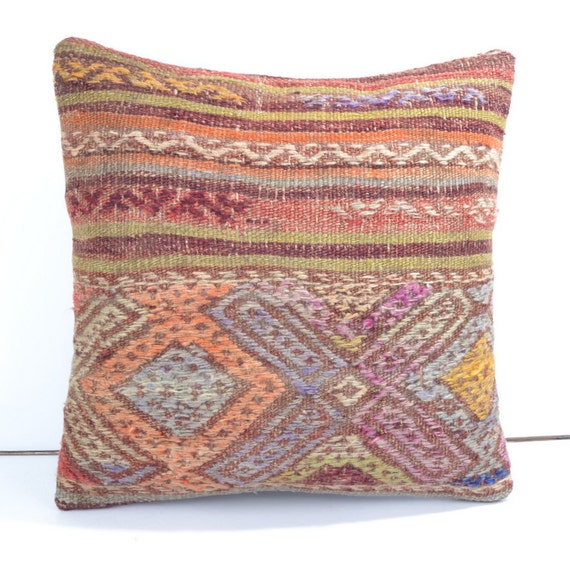 kilim throw pillow southwest shabby chic cushion by omerfarukaksoy