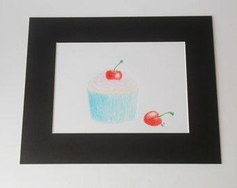 Hand drawn colourful cupcake / bun original artwork in a black mount and card backing.