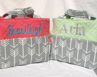 Gray Arrow Girl or Boy Diaper Bag Extra Large