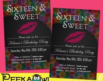 Printable Sweet 16 Invitation Birthday Invitation, Sixteen and sweet birthday party invitation, Sweet 16 birthday invitation card!!!