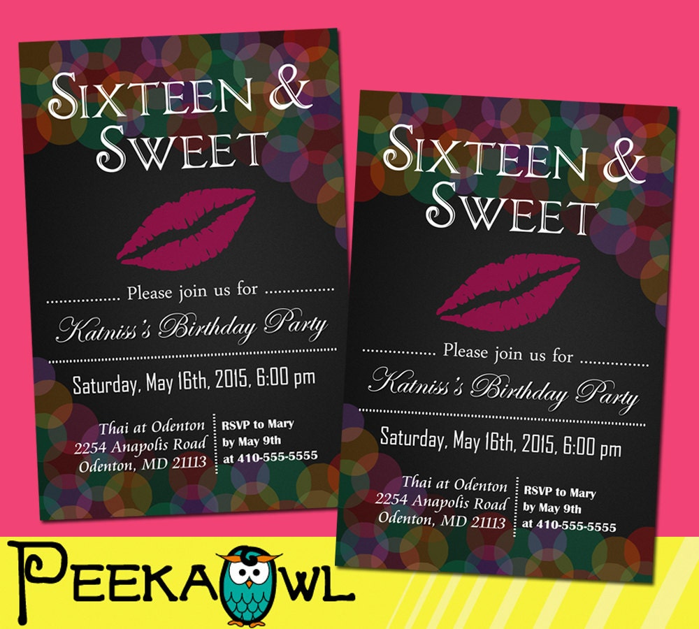 Sweet 16th birthday invitations filmwisefo