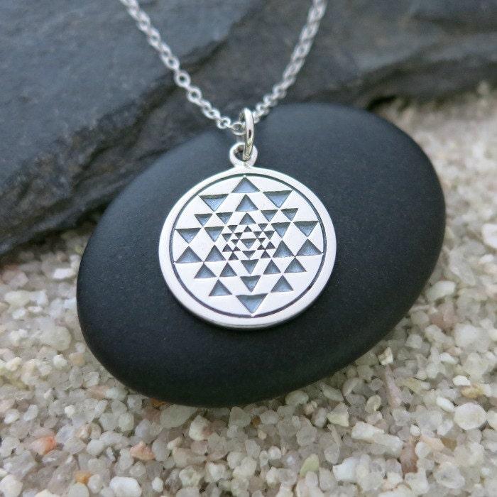sri yantra necklace sterling silver sri yantra by mahalospirit