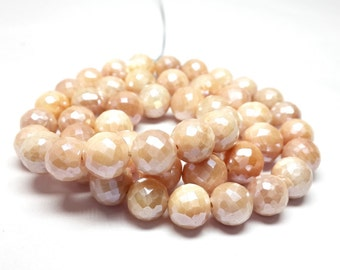 8% off sale Mystic Pink Moonstone faceted beads faceted beads- faceted roundel 8-9 M.M. 7 inch strand