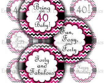 40th Birthday Bottlecap Images. Digital Bottle Cap. Fun, Foxy, Forty- Forty and Fabulous. 4x6 Digital Collage Sheet. Printable Circles 041